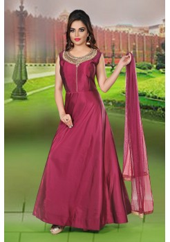 Deep Maroon Color Party Wear Gown
